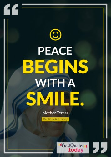 Peace And Smile Quote By Mother Teresa
