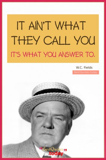 Inspirational Quote by W.C. Fields